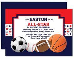 All Star Sports Birthday Invitation Kids Birthday Party Invitations, Sports Birthday, School Colors, Printable Invitations, Birthday Celebration, Order Prints, All Star, Messages, Stars