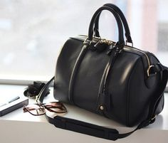 Boston Bag.Sofia Coppola Style Black Leather Tote. Small Size Handbag | GlamUp - Bags & Purses on ArtFire