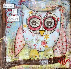 Dream in color owl : mixed media canvas
