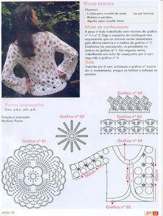 White flower top with diagramCrocheted motif no. Cardigan Au Crochet, Crochet Coat, Crochet Jacket, Crochet Cardigan, Crochet Clothes, Crochet Style, Crochet Motifs, Crochet Diagram, Crochet Stitches