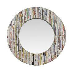 Linon Magazine Silver Thread Round Mirror $50   ---> Use magazine shreds over hallway mirror to create the same look, and hang in bedroom