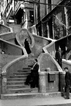 henri cartier-bresson, camondo stairs, istanbul, turkey, 1964 #photography #b&w #istanbul #people #places