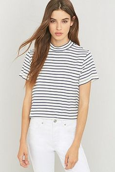 Urban Outfitters Slinky White Striped Mock Neck Top