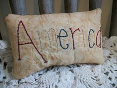 Primitive, Patriotic, Americana, America, Pillow, Tuck, Bowl Filler,  Hand Stitched via Etsy