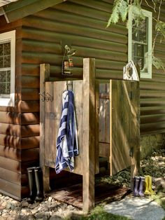 Outdoor Shower...We want this by the pool or better yet, a small Pool House!