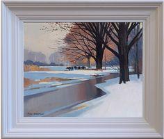 """John Skelton """"Cattle in Winter, Phoenix Park, Dublin"""" Oil on board, x Phoenix Park, Dublin, Cattle, Paintings, Sculpture, Gallery, Winter, Art, Gado Gado"""