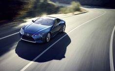 Lexus LC500h, 5K, 2017 cars, supercars, road movement, blue lexus