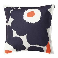 The cool Unikko cushion cover was designed by Maija Isola and Emma Isola for Marimekko. The cushion is made of high quality heavyweight cotton and has a colorful pattern with the famous Unikko flowers. Brighten up your sofa or bed and keep some summery florals out year-round!