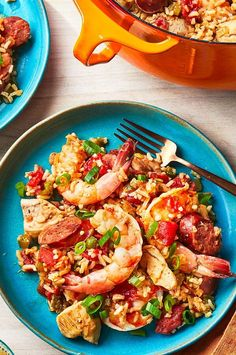 Smoky, gently spiced andouille sausage and a spoonful of Creole seasoning give deep flavor and mild heat to this jambalaya, while the trinity of onion, green pepper, and celery provide a classic aromatic base to the dish. #salmon #salmonrecipes #seafood Best Shrimp Recipes, Salmon Recipes, Easy Hors D'oeuvres, Fun Food, Good Food, Chicken And Shrimp, Creole Seasoning, Party Dishes, Grilled Shrimp