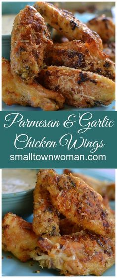 These wings are so easy to prepare! They are coated in garlic, Parmesan cheese and a perfect blend of spices! They areuh so full of tantalizing taste bud flavors! They are baked not fried but you would never know the difference! Parmesan Chicken Wings, Baked Chicken Wings, Crispy Chicken, Garlic Parmesan Wings Fried, Fried Chicken, Low Carb Chicken Wings, Parmesan Wings Recipe, Parmesan Pasta, Parmesan Recipes