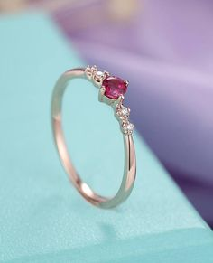Rose Gold ruby engagement Ring diamond Unique delicate matching simple jewelry women Anniversary Bridal set gift for her Promise ring Ruby Engagement Ring Vintage, Engagement Sets, Wedding Rings Rose Gold, Diamond Wedding Bands, Gold Earrings Designs, Ruby Jewelry, Necklaces, Bracelets, Blouse Designs