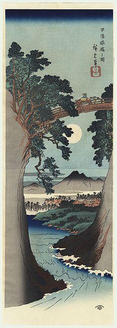 Moonrise Behind Monkey Bridge Kakemono by Hiroshige (1797 - 1858)