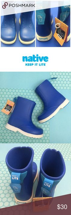 "NIB Native Sid Boots in Victoria Blue/Bone White The Native Kids' Sid Boots are perfect for taking your little one out on those rainy days. Boots Slip on Lightweight Waterproof Washable Resists odors Shock absorbing Beast free EVA. Features Synthetic sole Shaft measures approximately 6"" from arch Boot opening measures approximately 9.5"" around Super lightweight and easy slip on, No slip sole Native Shoes Rain & Snow Boots"