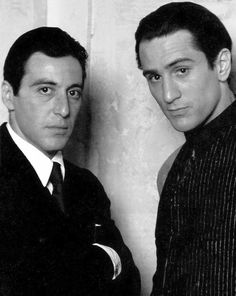 Al Pacino as Michael Corleone and Robert De Niro as Vito Corleone in The Godfather Part II, Academy Awards; Nominated, Best Actor in a Leading Role, Al Pacino. Best Actor in a Supporting Role Robert De Niro. Hollywood Stars, Classic Hollywood, Old Hollywood, Kino Movie, Stars D'hollywood, Don Corleone, Tv Star, Photos Rares, Actrices Hollywood