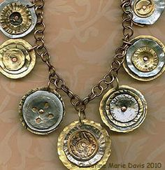 Inspiration: Smashed Button Necklace with Handmade Brass Chain, by Christine Marie Davis, an artist who creates jewelry from salvaged metal & buttons Recycled Jewelry, Metal Jewelry, Beaded Jewelry, Vintage Jewelry, Handmade Jewelry, Jewelry Necklaces, Silver Jewelry, Jewelry Crafts, Jewelry Art