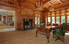 Walnut Floors, Luxury Office, Rustic Office, Million Dollar Homes, Italian Villa, Home Libraries, Mansions For Sale, How To Antique Wood, Luxury Real Estate