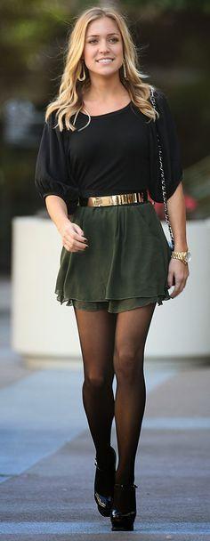 Kristin Cavallari black and green street style combo fashion