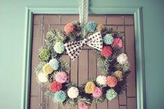 merry christmas pompom wreath