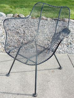 Russell Woodard Sculptura Arm Lounge Chair Vintage Wire Mesh Patio Mid  Century
