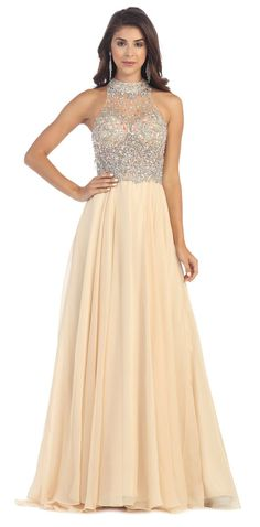This elegant modest prom formal and evening full length dress comes with high neckline beaded rhinestones bodice and pleated chiffon skirt. Fabric : Chiffon Zipper Back Matching complimentary shawl is