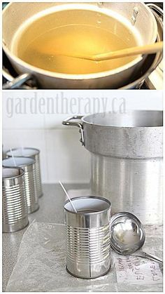 fragrance/lb wax DIY Candles in Cans Step 3 via Garden Therapy- How to Make Citronella Candles Cheap Candles, Diy Candles, Candle Craft, Candle Wax, Velas Diy, Garden Candles, Candle Making Supplies, Citronella Candles, Candlemaking