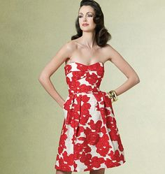 Red and white floral strapless with corset - vogue 1174