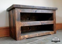 Rustic Pine TV Unit solid chunky wood stand/cabinet - tudor oak wax finish