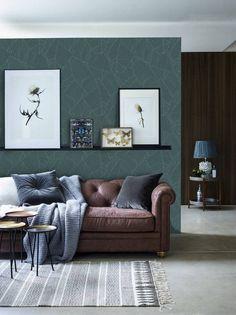 1f95098b20b Big aqua leaves removable Wallpaper - traditional - white Print wall mural  - Self Adhesive Wall Deca. Modern LivingSmall Living RoomsLiving Room DecorCozy  ...