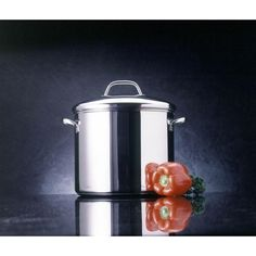 Classic Series 12 Qt. Stainless Steel Stock Pot with Heat Resistant, Silver
