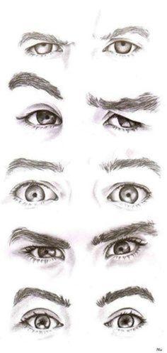 眼睛。双眼。手绘。铅笔。素描。素材@息ZYX采集到表情2(146图)_花瓣插画/漫画