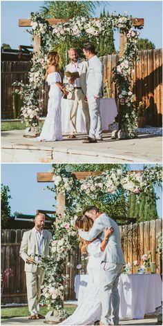 Romantic wooden wedding arbor, outdoor wedding ceremony, white and light pink florals, luscious garland // Wild Whim Photography