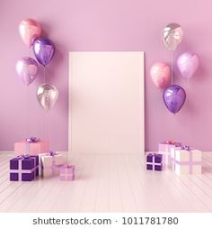 Find Interior Mock Illustration Violet Pink stock images in HD and millions of other royalty-free stock photos, illustrations and vectors in the Shutterstock collection. Happy Birthday Frame, Happy Birthday Wallpaper, Birthday Frames, Baby Birthday, Birthday Room Decorations, Birthday Backdrop, Flower Background Wallpaper, Flower Phone Wallpaper, Birthday Background Design