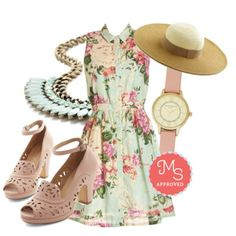 In this outfit: Botanical Occasion Dress, Sweetest Speaker Necklace, Haute in the Shade Hat, Elegant in Any Occasion Watch in Rose, Daiquiri Jamboree Heel in Blush #floral #watch #sunhat #mint