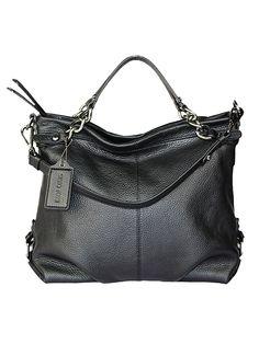Leder-Henkeltasche in Schwarz - (B)34 x (H)27 x (T)14 cm. Handtasche von Silvio Tossi - hochwertiges, italienisches Kalbsleder - 2 Tragehenkel - abnehmbarer Schulterriemen - Innentasche mit Reißverschluss - innen mit Smartphonetasche und Steckfach Farbe: schwarz