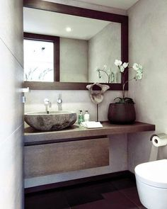 modern bathroom - downstairs bathroom one day? Small Bathroom, Bathroom Inspiration, Bathroom Decor, Interior, Beautiful Bathrooms, Guest Toilet, Downstairs Bathroom, Laundry In Bathroom, Bathroom