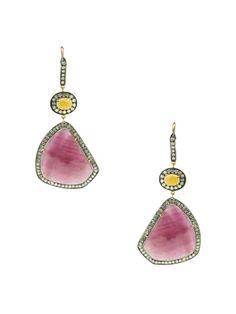 Opal Oval & Ruby Slice Drop Earrings by J/Hadley on Gilt.com