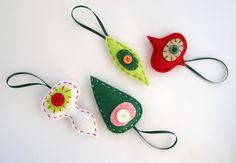 Felt Christmas ornaments, xmas decorations, holiday decor, retro decor, Christmas tree ornaments, felt ornaments, set of four (4) by FishesMakeWishesHome on Etsy https://www.etsy.com/listing/109796849/felt-christmas-ornaments-xmas