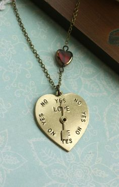 Spin My Heart... Yes No Love Me.  An Antiqued Bronze