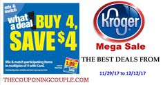 Looks like the Kroger Mega Sale starting 11/29 - 12/12/17 is going to be a good one. Check out this full list now to prepare for the sale. We will continue adding in coupons as new ones pop up and update price list throughout the week as well.  Click the link below to get all of the details ► http://www.thecouponingcouple.com/another-great-kroger-mega-sale-starting-1101-thru-111417/ #Coupons #Couponing #CouponCommunity  Visit us at http://www.thecouponingcouple.com fo