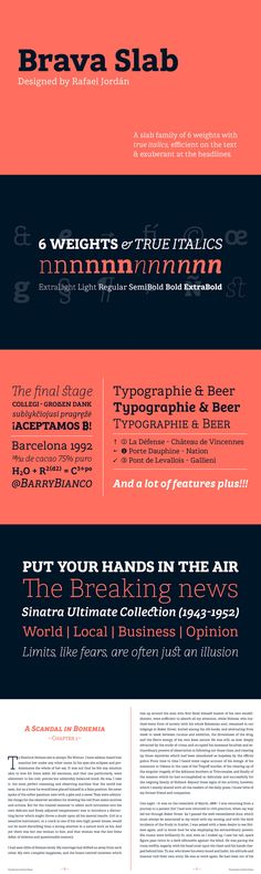 Brava Slab - Brava Slab is a family of 6 weights with matching italics. Designed for editorial purpose, it . Slab Serif Fonts, Family Of 6, Brand Fonts, Weights, Purpose, Desktop, Personality, Editorial, Typography
