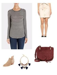 This long sleeve stripe tee will never go out of style with its fitted silhouette, scoop hem and visible center seam down the back. Pair with your fave leather jacket and slip on sneakers or with a chic skirt and ankle boot.