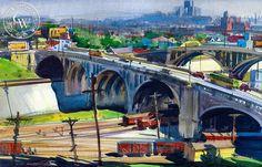 L.A. Train Yard, c. 1940, California art by Emil Kosa Jr.. HD giclee art prints for sale at CaliforniaWatercolor.com - original California paintings, & premium giclee prints for sale