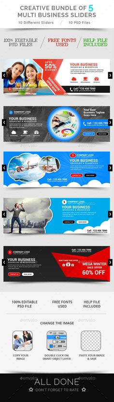 Buy Bundle of 5 Creative Business Sliders by ecreativesol on GraphicRiver. Bundle of 5 Creative Business Sliders Bundle of 5 Multi Business Sliders template PSD file ready for your professiona. Page Layout Design, Web Design, Flat Design, Graphic Design, Facebook Cover Design, Facebook Timeline Covers, Slider Design, Fb Covers, Social Media Design