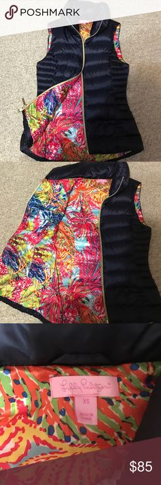 LILLY PULITZER PUFFER VEST Worn once. Navy Lilly Pulitzer Jackets & Coats Puffers
