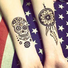 Sugar Skull and Dream Catcher Henna Tattoo #mehndikajoeyhenna