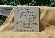 In Loving Memory Gift Your life was a blessing by LettersbyLaurie