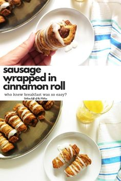 Sausage Wrapped in Cinnamon Roll make for the perfect breakfast when you are looking for something different. They also make a great afternoon snack! #cinnamonrolls #breakfast #sausage #snacks via @bottomleftofthe