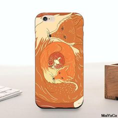 Animals Cute Foxes 2016 Colored Drawing Hard Case  For iPhone 6 6s case