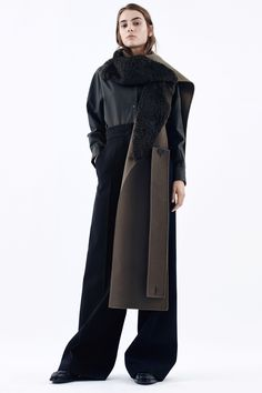 DIY: cut out a front piece from a coat and sew edges, attach a self made belt or tie to make into an apron like piece you can wear like a scarf or ''apron'' in the winter. Jil Sander Pre-Fall 2016 Collection Photos - Vogue