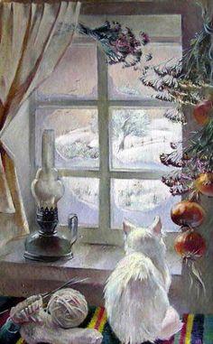 Vladimir Tokarev - The Winter Window - cat art